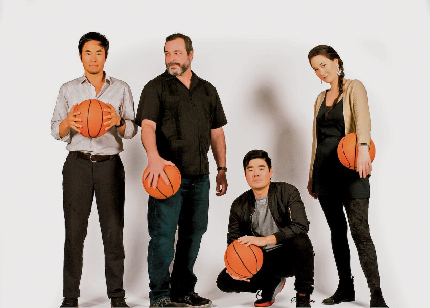 Edward Chen, Manny Fernandes, Scott Keiji Takeda and Keiko Green tell a basketball tale in 'The Great Leap,' with performances of the play Jan. 22-Feb. 16, 2020 at Cygnet Theatre, 4040 Twiggs St., Old Town San Diego. (619) 337-1525. cygnettheatre.com
