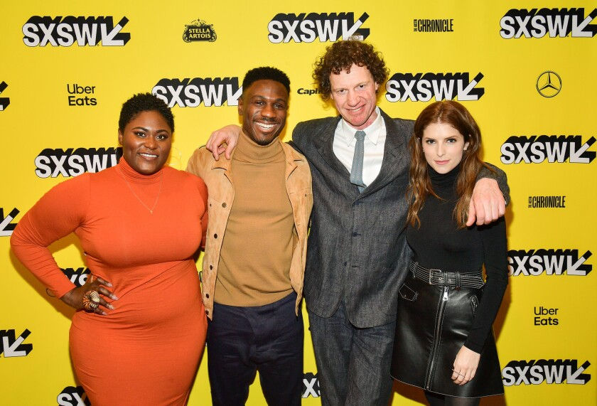 """At the SXSW premiere of """"The Day Shall Come,"""" from left, Danielle Brooks, Marchánt Davis, director Chris Morris and Anna Kendrick at the Paramount Theatre on March 11 in Austin, Texas."""