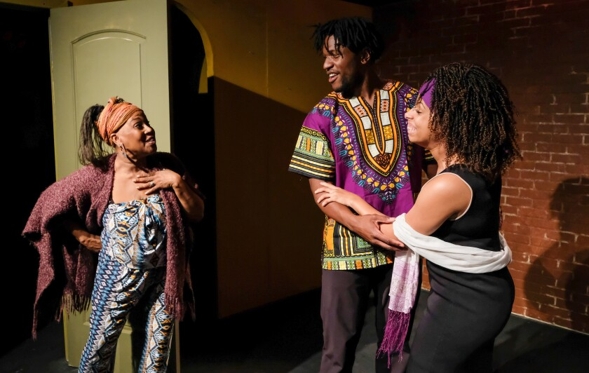"Carla BaNu Dejesus, Malachi Beasley and Danielle Bunch in Coronado Playhouse's ""Harlem Duet."""
