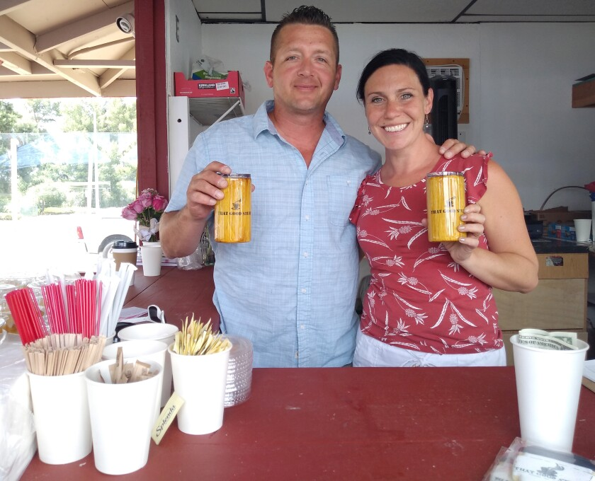 That Good Stuff owners Bryan and Jodie Taylor sell a variety of coffees and teas from the stand they officially opened May 1.