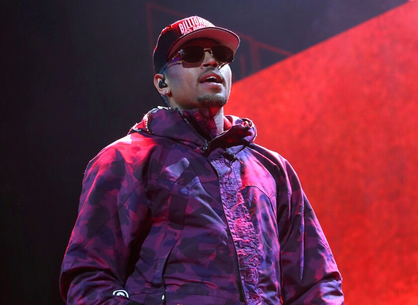 Chris Brown performs at Barclays Center in New York on Feb. 16. The singer tweeted on Tuesday that he was denied entry into Canada, forcing the cancellation of two concerts.