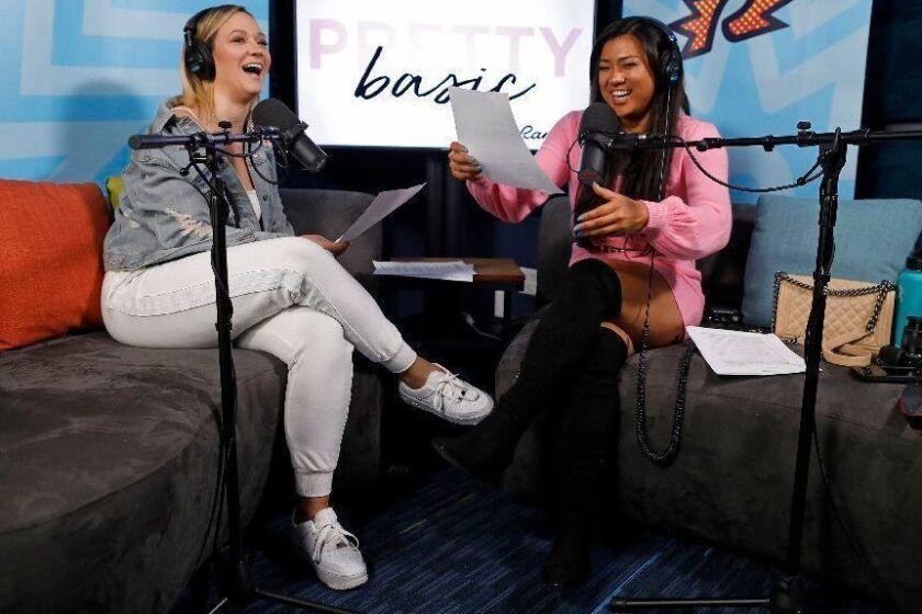 "LOS ANGELES, CALIF. -- THURSDAY, JANUARY 10, 2019: Alisha Marie and Remi Cruz record their Ramble Network podcast show, ""Pretty Basic"" at Cadence13 in Los Angeles, Calif., on Jan. 10, 2019. (Gary Coronado / Los Angeles Times)"