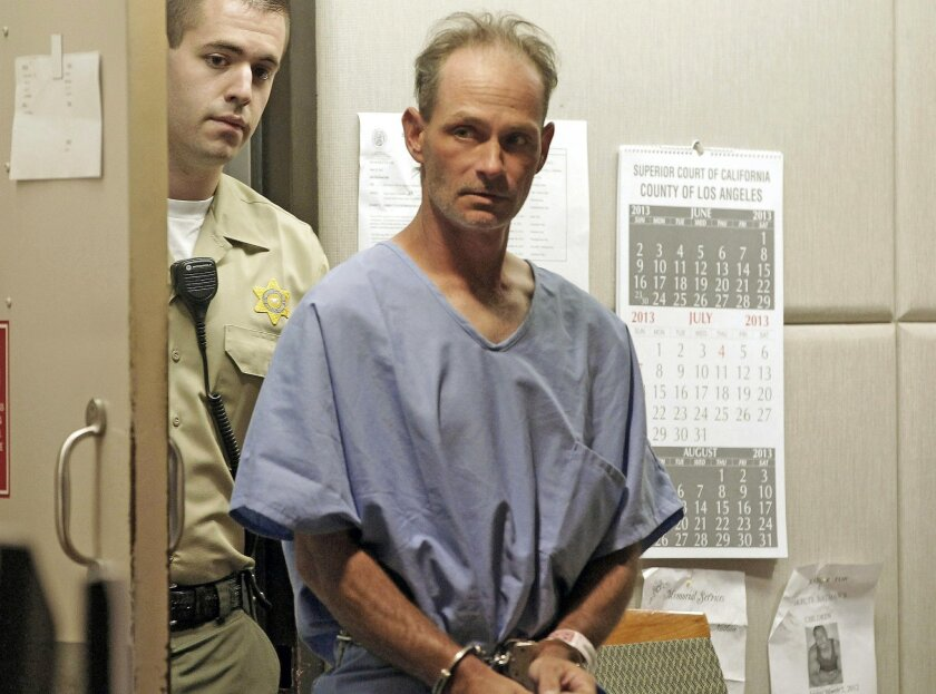 FILE - In this Aug. 6, 2013, file photo, Nathan Campbell, a transient from Colorado, enters Los Angeles Superior Court. Campbell, who killed a honeymooner when he plowed into crowds of people at the Venice Beach boardwalk, is going on trial for murder. Jurors were seated Thursday, April 30, 2015, i
