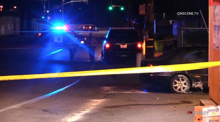 Deputies investigate a shooting Saturday night outside a liquor store on Bancroft and Golf drives in Spring Valley.