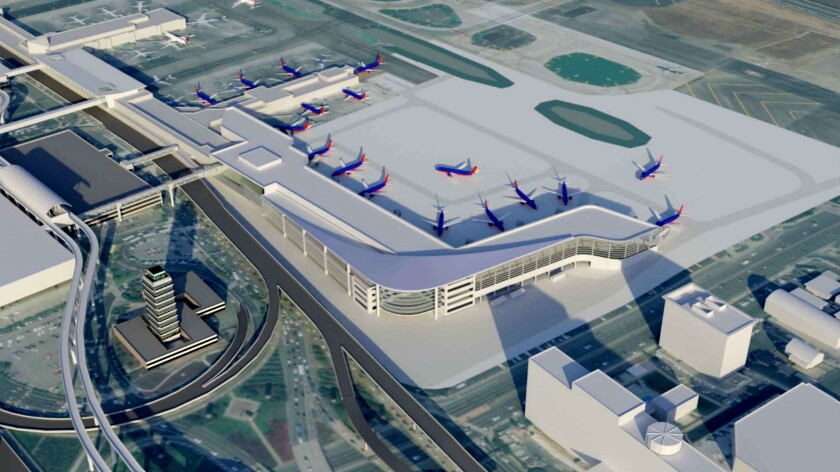An artist's rendering shows a design for an expansion of Terminal 1 at Los Angeles International Airport.
