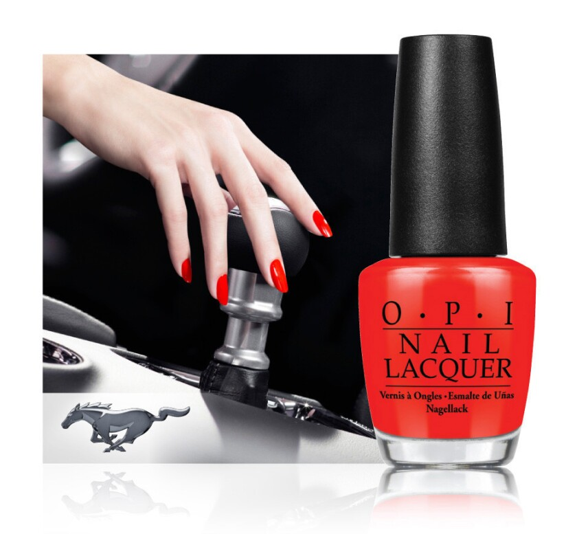 """""""Race Red"""" is the """"hero shade"""" of the Ford Mustang-inspired line of limited-edition nail lacquers that OPI is set to release in July."""
