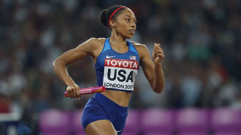 United States' Allyson Felix competes in the women's 4x400-meter final during the World Athletics Ch