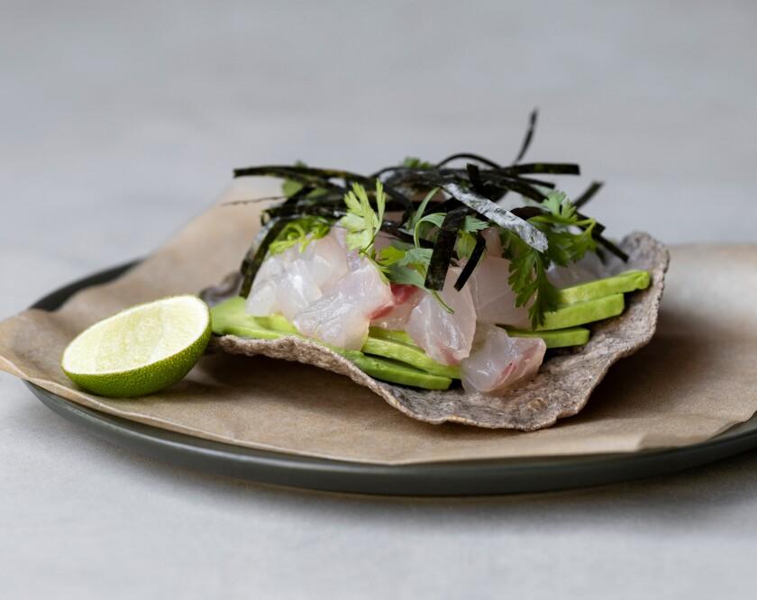Fish tartare with furikake and avocado at Damian