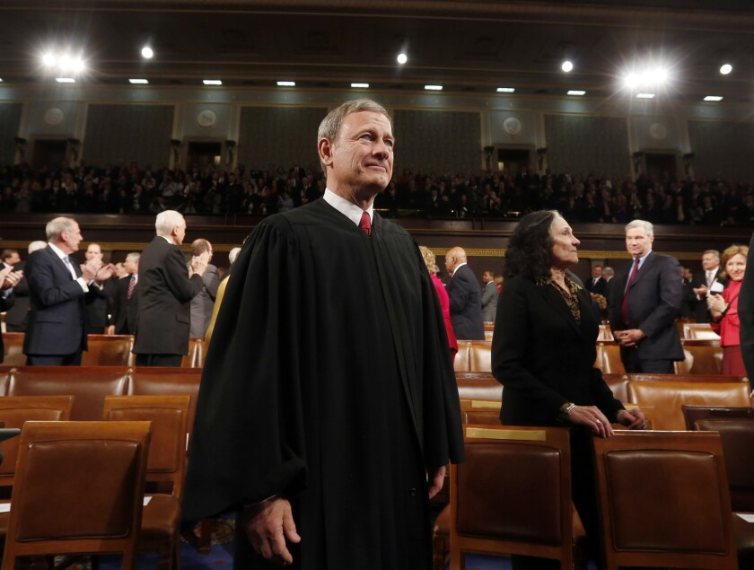 Chief Justice John G. Roberts Jr., seen above in the House chamber in 2014, wrote the majority opinion in a case upholding a ban on judicial candidates personally soliciting campaign contributions.