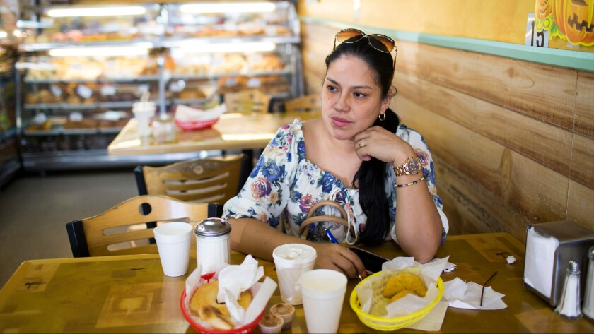 Martha Renza, 38, at Mi Colombia Bakery on Elmore Avenue in Elizabeth.