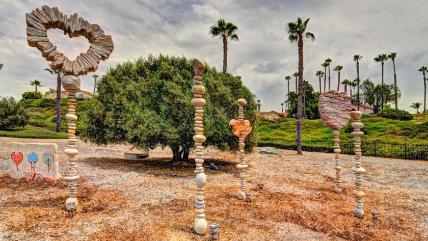 Heart Rocks Stacked (has been taken down). On display July 5-8 on San Dieguito Road next to Fairbank