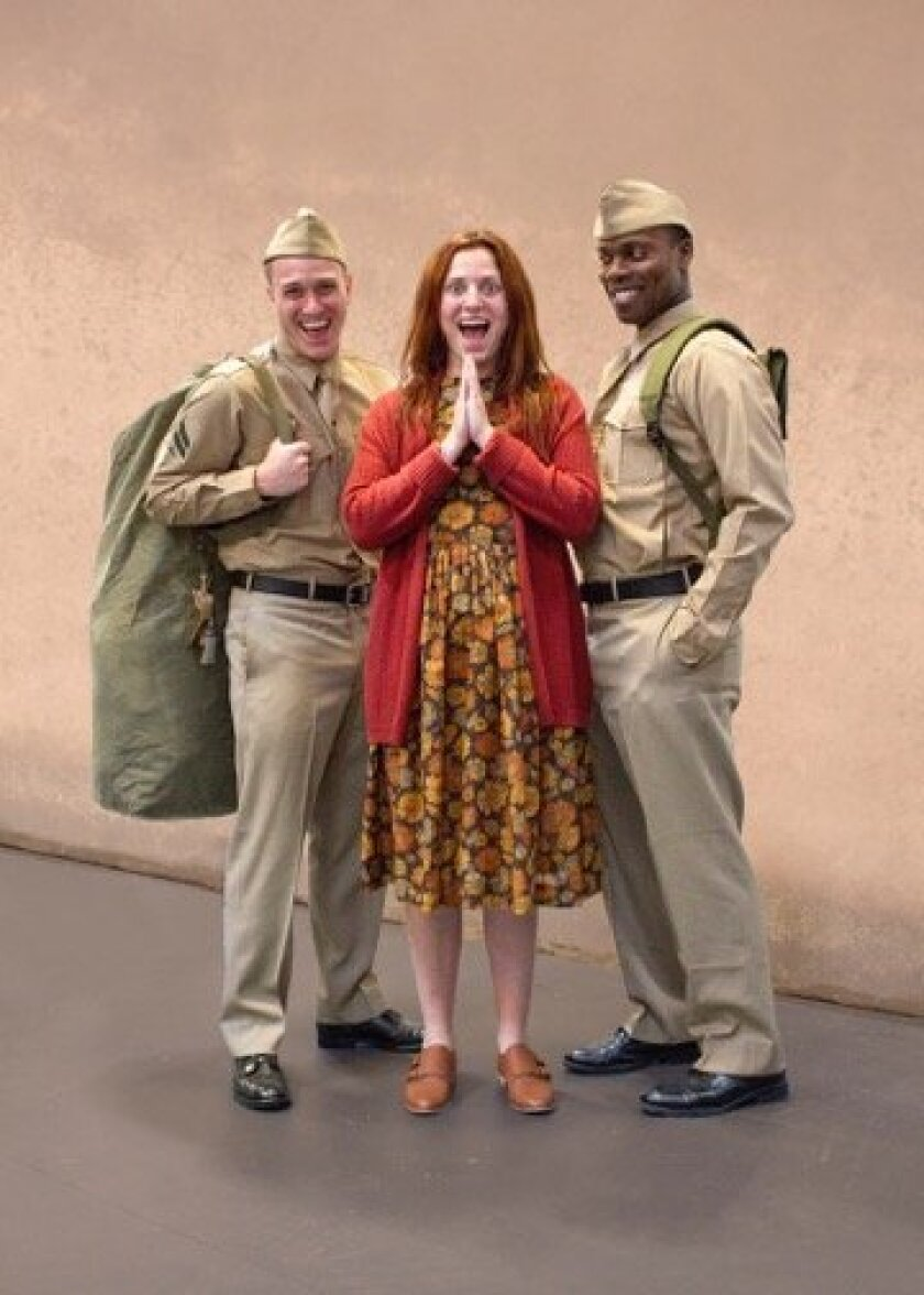 'Violet' in rehearsal at the REP with Hannah Corrigan, flanked by Jacob Caltrider and Rhett George