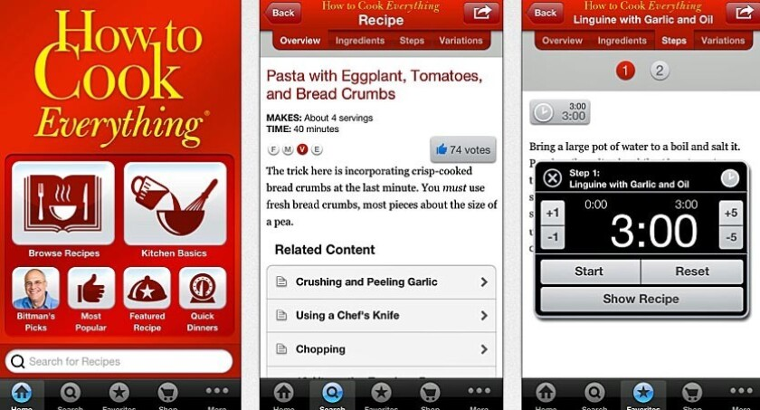 "columnist Mark Bittman's bestselling ""How to Cook Everything"" is also an app"