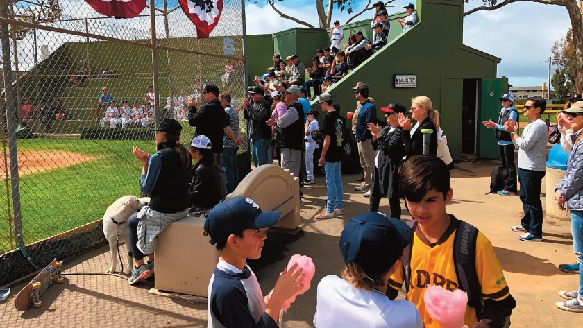 La Jolla Youth Baseball players and families (and 4-legged fans) on 2019 opening day