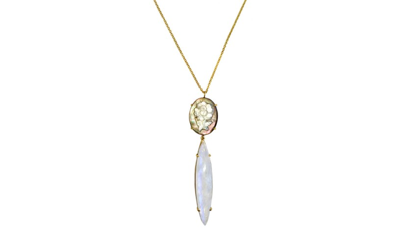 Suzanne Felsen 18-karat yellow gold rainbow moonstone with carved mother of
