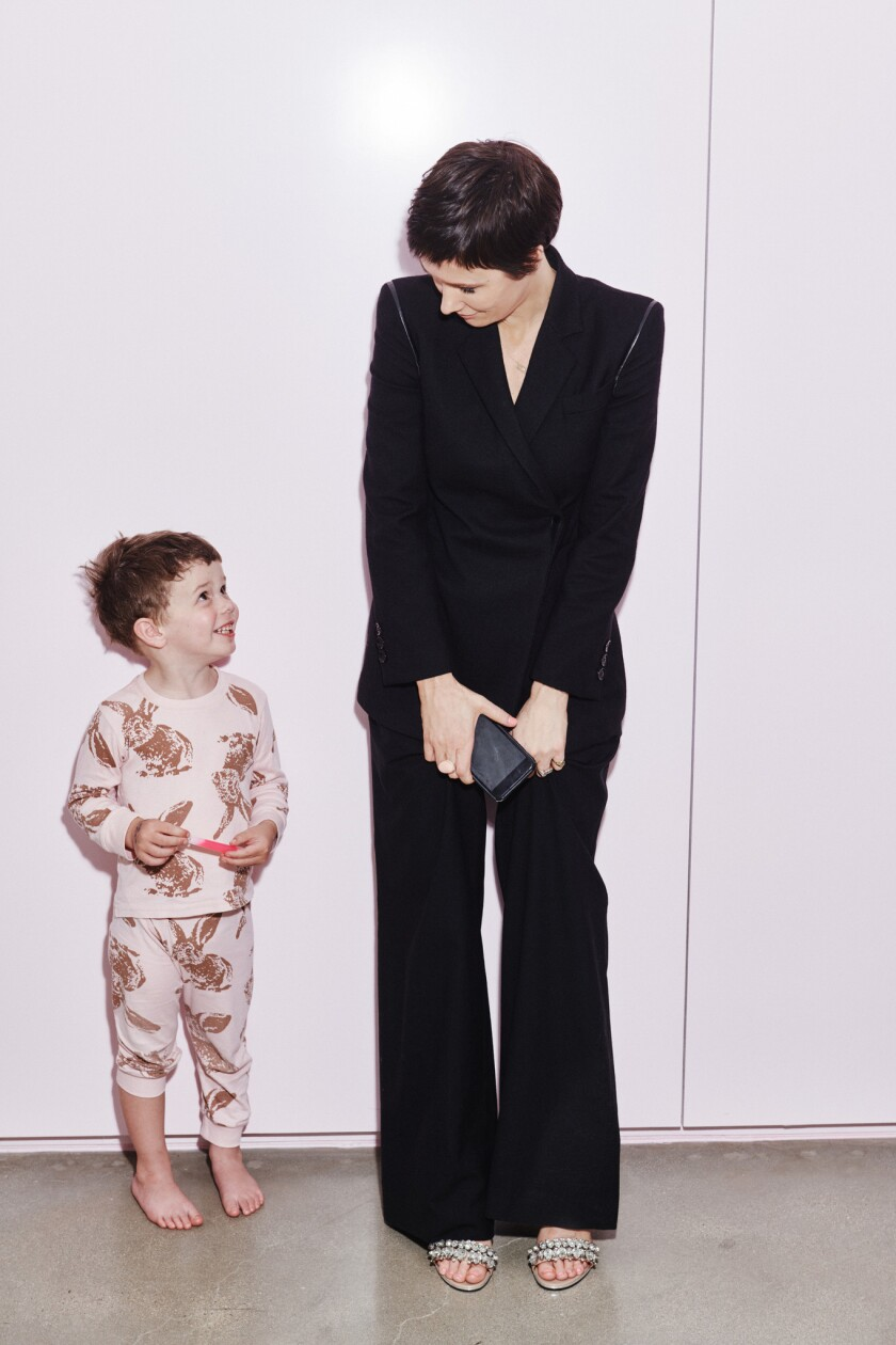 Portraits of Cassandra Grey, founder of Violet Grey with son Jules Andrew Grey.