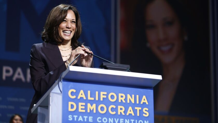 SAN FRANCISCO - JUNE 1, 2019: Senator Kamala Harris addresses the California state Democratic Party