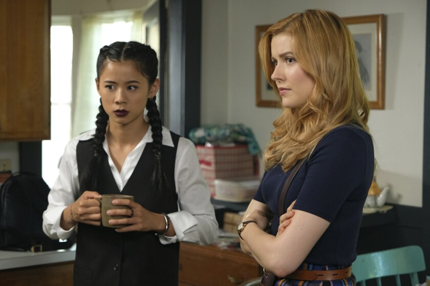 "Leah Lewis, left, and Kennedy McMann in ""Nancy Drew"" on CW."