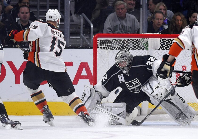 Ducks center Ryan Getzlaf scores on Kings goalie Jonathan Quick during the second period of Anaheim's 3-2 shootout win on Jan. 17.