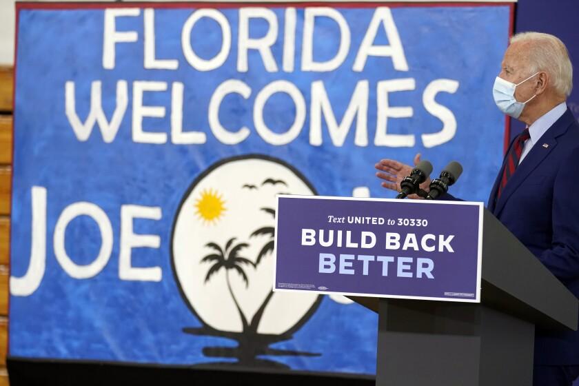 Democratic presidential candidate former Vice President Joe Biden speaks at Jose Marti Gym, Monday, Oct. 5, 2020, in Miami. (AP Photo/Andrew Harnik)