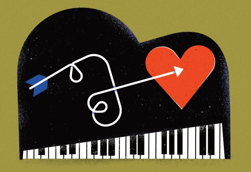 An illustration of an arrow aiming for a heart, atop a piano.