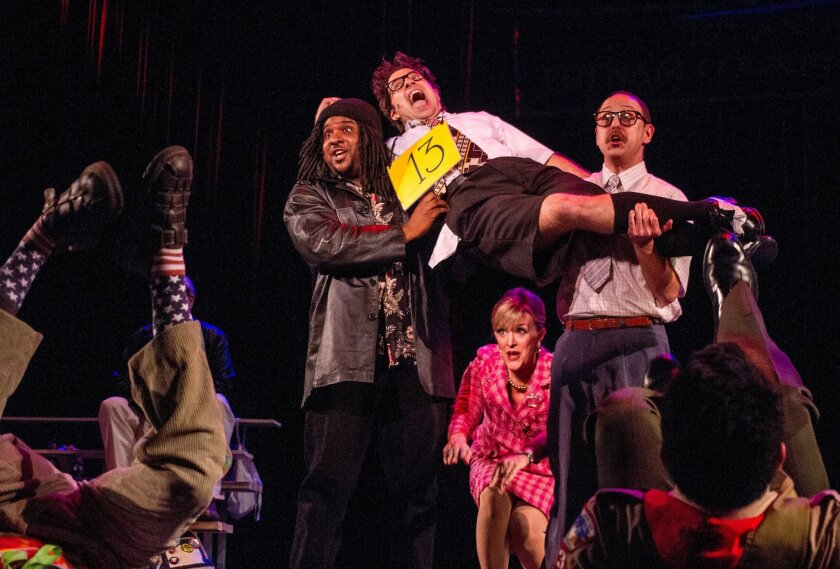 "Left to right: Benjamin Roy, Omri Schein, Nancy Snow Carr and Geno Carr in ""The 25th Annual Putnam County Spelling Bee."""