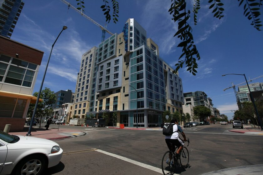 Tourism marketing is funded by a 2 percent surcharge on rooms at places such as the Hotel Indigo. [U-T file]