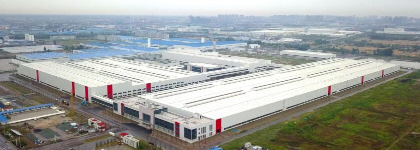 An aerial view of the Jiangsu Saleen auto plant in Rugao, China.