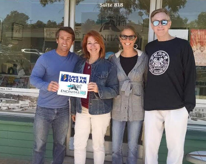 L-R: Bob Nichols, chairman and founder of the Surfing Madonna Oceans Project, E101 Director Thora Guthrie, Surfing Madonna Oceans Project board members Megan McCarthy and Dave Tanner.