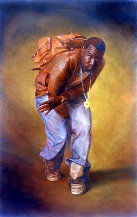 """Grammy winner Kanye West is outfitted in some of the trappings of his times in a portrait by Alexander Melamid. It's part of the """"Holy Hip-Hop!"""" exhibition of Melamid works that is scheduled from Sept. 12 to Nov. 1 at the Forum Gallery in Los Angeles. Melamid formerly was renowned as a conceptual art rebel in Soviet Russia. Read more here."""