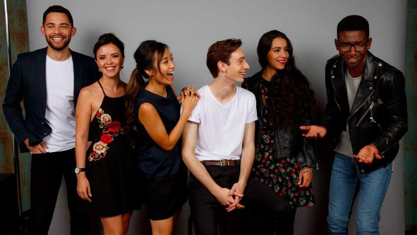 Vinnie Bennett, left, Mary Galloway, Ellen Wong, Theodore Pellerin, Lina El Arabi and Mamoudou Athie, members of TIFF's Rising Stars, at the 42nd Toronto International Film Festival.