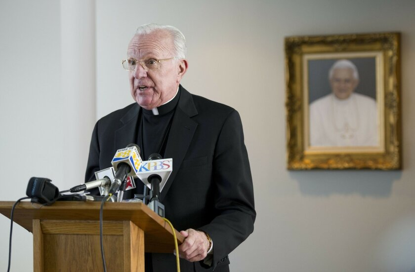 San Diego Bishop, Robert H. Brom speaks to the media regarding the election of Pope Francis at the Diocesan Pastoral Center on Wednesday, March 13th, 2013.