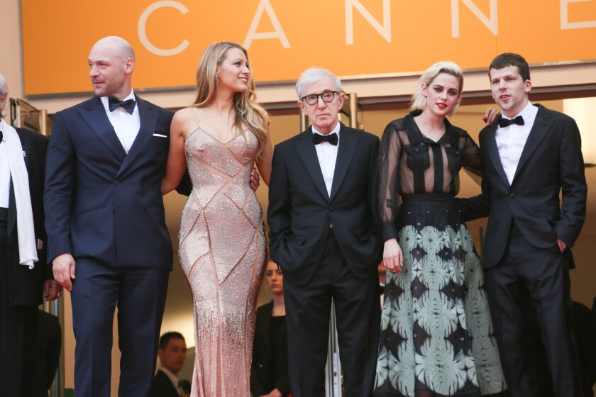 """Woody Allen, center, at the Cannes Film Festival in May, with his """"Café Society"""" cast, from left, Corey Stoll, Blake Lively, Kristen Stewart and Jesse Eisenberg."""