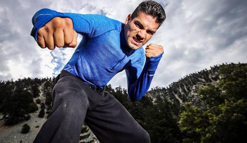 Gilberto 'Zurdo' Ramírez, en pausa en su sesión de entrenamiento.