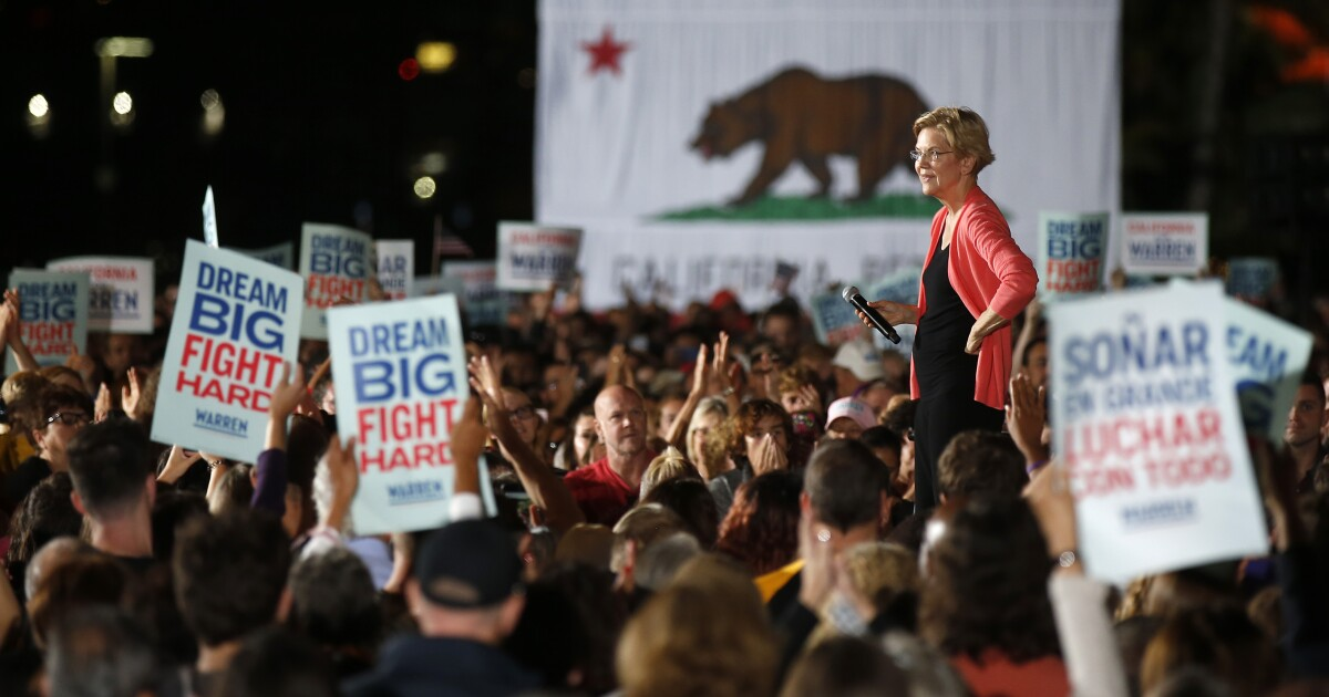 Ukraina? Impeachment? Tidak, Elizabeth Warren tongkat untuk rencana di San Diego rally