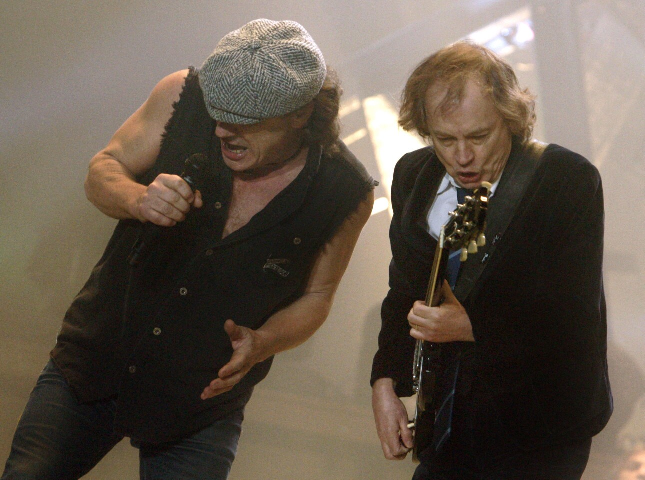 Brian Johnson, left, and Angus Young of AC/DC will perform at the Grammys.