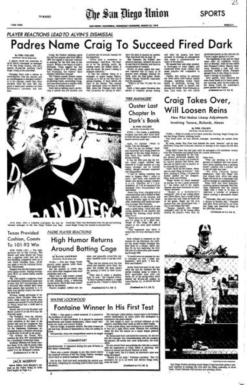 The front page of the sports section of the San Diego Union on March 22, 1978, after the Padres had fired manager Alvin Dark in spring training.