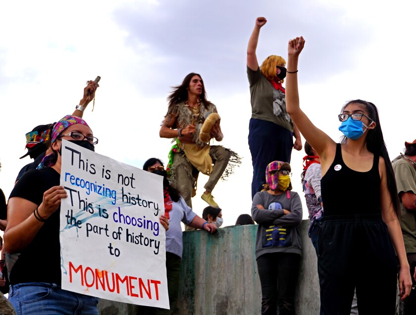 A protest at the Oñate Monument and Resource Center in Alcalde, N.M. in June, 2020.
