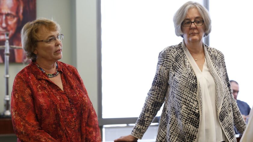 Kathy Jones, left, and Vicki Lundblad in July 2017.