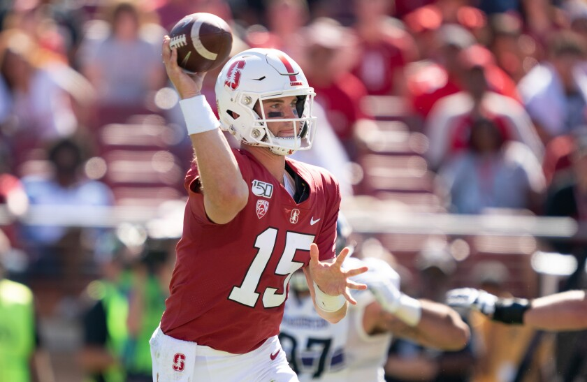 Stanford quarterback Davis Mills passes the ball during a game between Northwestern on Aug. 31.