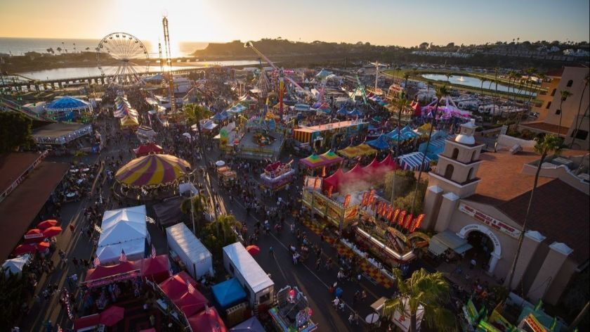 An aerial view of a previous San Diego County Fair at sunset.
