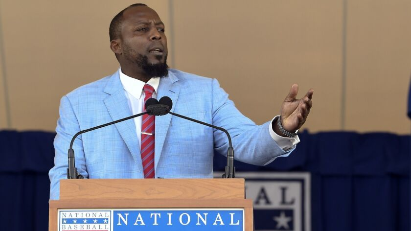National Baseball Hall of Fame inductee Vladimir Guerrero speaks during an induction ceremony at the