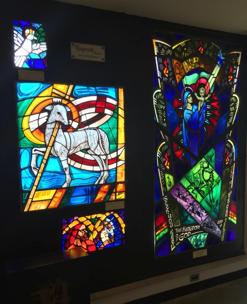 This Feb. 3, 2016 photo shows stained glass on display at Blenko Glass in Milton, W.Va. The company is famous for its stained glass and handcrafted glass tableware, which is recognized and collected around the world. Its factory has an onsite museum, gift shop and observation area where visitors ca