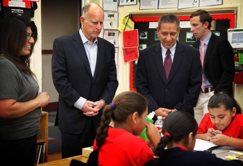 """Gov. Jerry Brown held a news conference at Humphreys Avenue Elementary School with supporters to call for action on his plan, """"Local Control Funding Formula,"""" which aims to improve how schools are funded in California."""