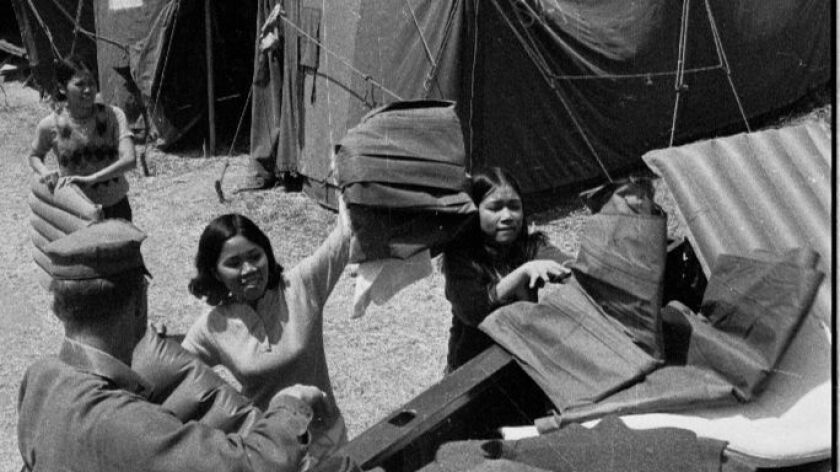 A tent city was set up at Camp Pendleton in 1975 when refugees from Vietnam arrived after the fall of Saigon.