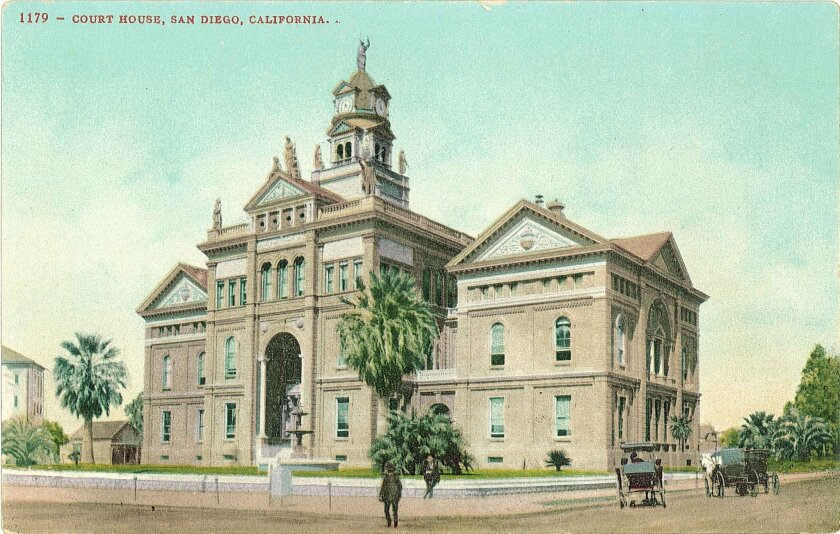 The second courthouse opened on the same 1872 site in 1890. It featured statues of presidents, a bell and clock tower and 42 stained glass windows, still in use, depicting the states in the Union at the time.