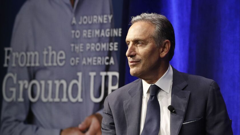 Former Starbucks CEO and Chairman Howard Schultz looks out at the audience during the kickoff event of his book promotion tour Monday in New York City.