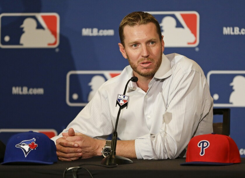 Two-time Cy Young Award winner Roy Halladay announces his retirement after 16 seasons in the major leagues Monday at the MLB winter meetings in Lake Buena Vista, Fla. in 2015.