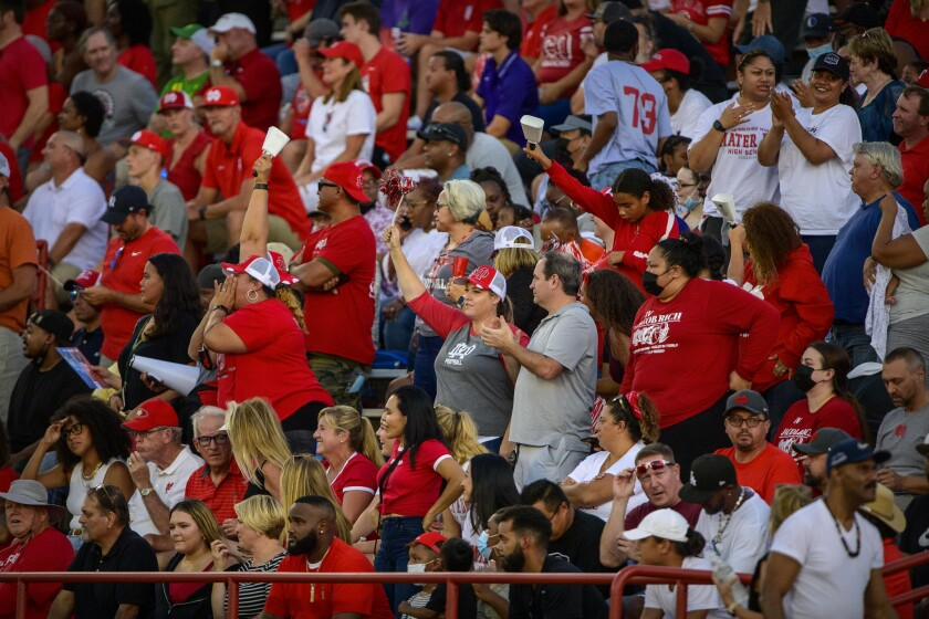 Mater Dei fans cheer in the stands