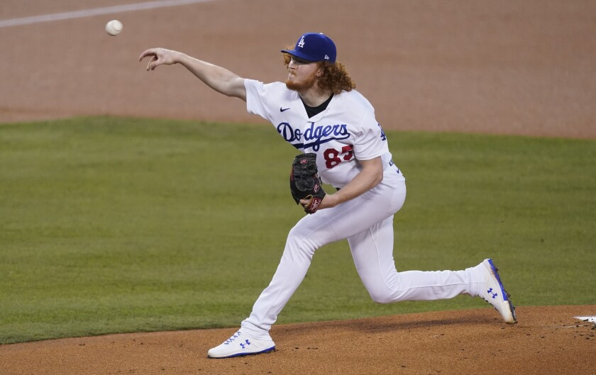 The Dodgers' Dustin May pitches against the Oakland Athletics on Sept. 22.